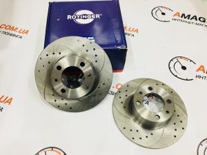 Купить Тормозные диски ВАЗ 2101-07 перед. c перфорацией и насечками (ROTINGER)